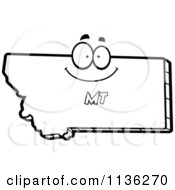 Cartoon Clipart Of An Outlined Happy Montana State Character Black And White Vector Coloring Page by Cory Thoman