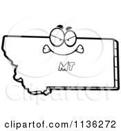 Cartoon Clipart Of An Outlined Mad Montana State Character Black And White Vector Coloring Page by Cory Thoman