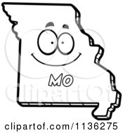Cartoon Clipart Of An Outlined Happy Missouri State Character Black And White Vector Coloring Page by Cory Thoman