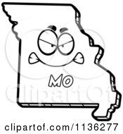 Cartoon Clipart Of An Outlined Mad Missouri State Character Black And White Vector Coloring Page by Cory Thoman
