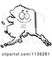 Cartoon Clipart Of An Outlined Happy Alaska State Character Black And White Vector Coloring Page
