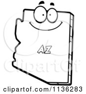 Cartoon Clipart Of An Outlined Mad Arkansas State Character Black And White Vector Coloring Page