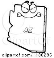 Cartoon Clipart Of An Outlined Mad Arizona State Character Black And White Vector Coloring Page