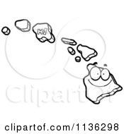 Cartoon Clipart Of An Outlined Happy Hawaii State Character Black And White Vector Coloring Page