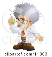 Male Scientist In A Laboratory Holding A Test Tube Clipart Illustration