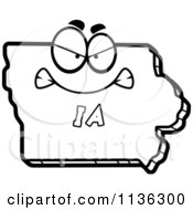 Cartoon Clipart Of An Outlined Mad Iowa State Character Black And White Vector Coloring Page