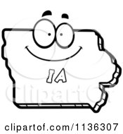 Cartoon Clipart Of An Outlined Happy Iowa State Character Black And White Vector Coloring Page