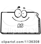 Cartoon Clipart Of An Outlined Mad Kansas State Character Black And White Vector Coloring Page
