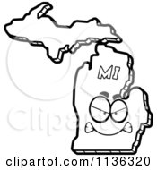 Cartoon Clipart Of An Outlined Mad Michigan State Character Black And White Vector Coloring Page by Cory Thoman