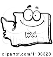 Cartoon Clipart Of An Outlined Happy Washington State Character Black And White Vector Coloring Page