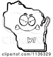 Cartoon Clipart Of An Outlined Mad Wisconsin State Character Black And White Vector Coloring Page