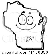 Cartoon Clipart Of An Outlined Happy Wisconsin State Character Black And White Vector Coloring Page
