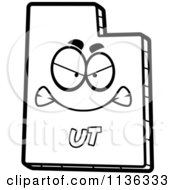 Cartoon Clipart Of An Outlined Mad Utah State Character Black And White Vector Coloring Page by Cory Thoman