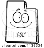 Cartoon Clipart Of An Outlined Happy Utah State Character Black And White Vector Coloring Page by Cory Thoman