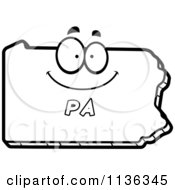 Cartoon Clipart Of An Outlined Happy Pennsylvania State Character Black And White Vector Coloring Page