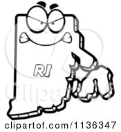 Cartoon Clipart Of An Outlined Mad Rhode Island State Character Black And White Vector Coloring Page