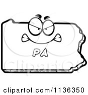 Cartoon Clipart Of An Outlined Mad Pennsylvania State Character Black And White Vector Coloring Page
