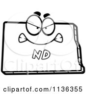 Cartoon Clipart Of An Outlined Mad North Dakota State Character Black And White Vector Coloring Page