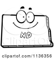 Cartoon Clipart Of An Outlined Happy North Dakota State Character Black And White Vector Coloring Page