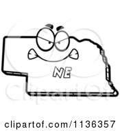 Cartoon Clipart Of An Outlined Mad Nebraska State Character Black And White Vector Coloring Page