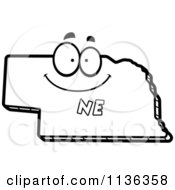 Cartoon Clipart Of An Outlined Happy Nebraska State Character Black And White Vector Coloring Page