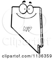 Cartoon Clipart Of An Outlined Happy Nevada State Character Black And White Vector Coloring Page by Cory Thoman
