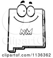 Cartoon Clipart Of An Outlined Happy New Mexico State Character Black And White Vector Coloring Page