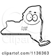 Cartoon Clipart Of An Outlined Happy New York State Character Black And White Vector Coloring Page