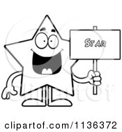 Cartoon Clipart Of An Outlined Star Character Holding A Sign Black And White Vector Coloring Page by Cory Thoman