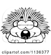 Cartoon Clipart Of An Outlined Sleeping Porcupine Black And White Vector Coloring Page by Cory Thoman