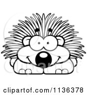 Cartoon Clipart Of An Outlined Happy Porcupine Black And White Vector Coloring Page by Cory Thoman