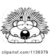 Cartoon Clipart Of An Outlined Depressed Porcupine Black And White Vector Coloring Page