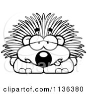 Cartoon Clipart Of An Outlined Sick Porcupine Black And White Vector Coloring Page by Cory Thoman