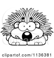 Cartoon Clipart Of An Outlined Scared Porcupine Black And White Vector Coloring Page by Cory Thoman