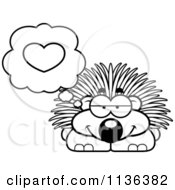Cartoon Clipart Of An Outlined Porcupine In Love Black And White Vector Coloring Page by Cory Thoman