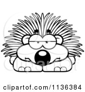 Cartoon Clipart Of An Outlined Bored Porcupine Black And White Vector Coloring Page by Cory Thoman