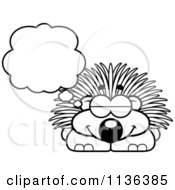 Cartoon Clipart Of An Outlined Dreaming Porcupine Black And White Vector Coloring Page by Cory Thoman