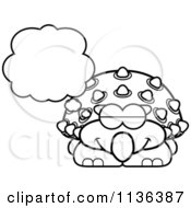 Cartoon Clipart Of An Outlined Dreaming Ankylosaurus Dinosaur Black And White Vector Coloring Page by Cory Thoman