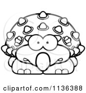 Cartoon Clipart Of An Outlined Scared Ankylosaurus Dinosaur Black And White Vector Coloring Page by Cory Thoman