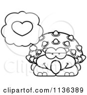 Cartoon Clipart Of An Outlined Ankylosaurus Dinosaur Thinking About Love Black And White Vector Coloring Page by Cory Thoman
