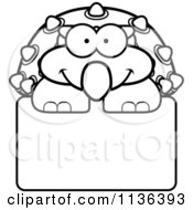 Cartoon Clipart Of An Outlined Happy Ankylosaurus Dinosaur Over A Sign Black And White Vector Coloring Page by Cory Thoman