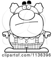 Cartoon Clipart Of An Outlined Calm Pudgy Circus Clown Black And White Vector Coloring Page by Cory Thoman