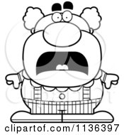 Cartoon Clipart Of An Outlined Scared Pudgy Circus Clown Black And White Vector Coloring Page by Cory Thoman