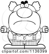 Cartoon Clipart Of An Outlined Angry Pudgy Circus Clown Black And White Vector Coloring Page