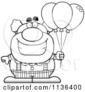 Cartoon Clipart Of An Outlined Pudgy Circus Clown With Balloons Black And White Vector Coloring Page by Cory Thoman