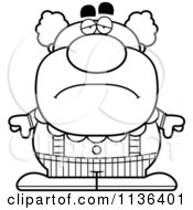Cartoon Clipart Of An Outlined Depressed Pudgy Circus Clown Black And White Vector Coloring Page by Cory Thoman