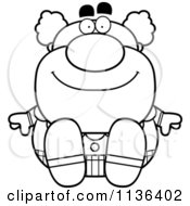 Cartoon Clipart Of An Outlined Sitting Pudgy Circus Clown Black And White Vector Coloring Page by Cory Thoman