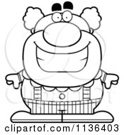 Cartoon Clipart Of An Outlined Happy Pudgy Circus Clown Black And White Vector Coloring Page