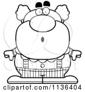 Cartoon Clipart Of An Outlined Surprised Pudgy Circus Clown Black And White Vector Coloring Page by Cory Thoman