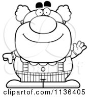 Cartoon Clipart Of An Outlined Waving Pudgy Circus Clown Black And White Vector Coloring Page by Cory Thoman